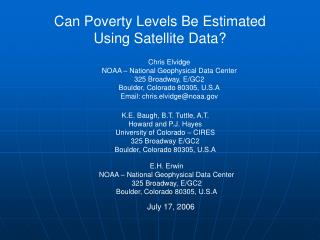 Can Poverty Levels Be Estimated  Using Satellite Data?