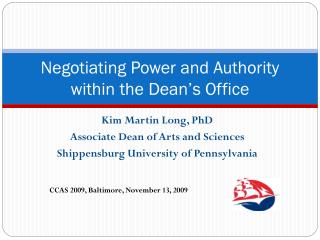 Negotiating Power and Authority within the Dean's Office