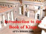 Introduction to the Book of Kings