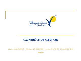 CONTRÔLE DE GESTION