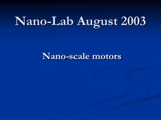 Nano-Lab August 2003