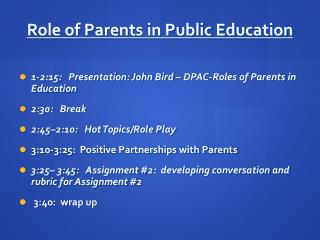 Role of Parents in Public Education