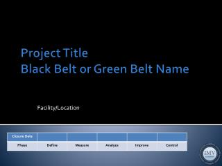 Project Title Black Belt or Green Belt Name