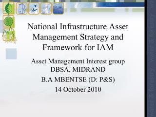 National Infrastructure Asset Management Strategy and Framework for IAM