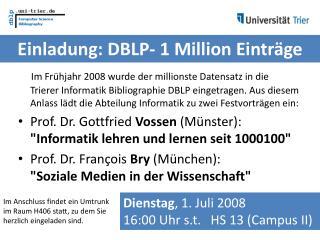 Einladung: DBLP- 1 Million Einträge