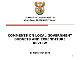 COMMENTS ON LOCAL GOVERNMENT BUDGETS AND EXPENDITURE REVIEW