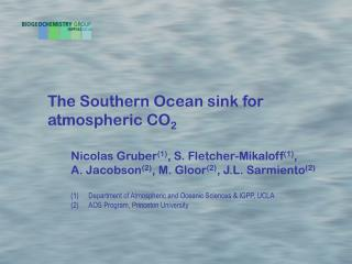 The Southern Ocean sink for   atmospheric CO 2