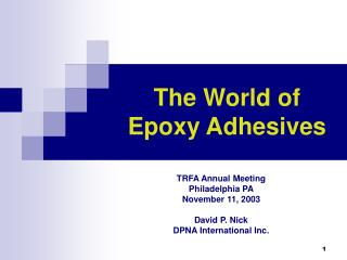 The World of Epoxy Adhesives