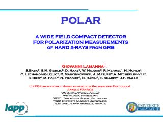 POLAR A WIDE FIELD COMPACT DETECTOR  FOR POLARIZATION MEASUREMENTS of HARD X-RAYS from GRB