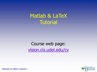 Matlab & LaTeX Tutorial