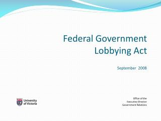Federal Government Lobbying Act