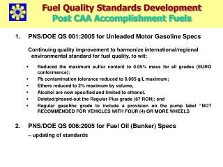 PNS/DOE QS 001:2005 for Unleaded Motor Gasoline Specs