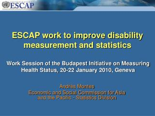 ESCAP work to improve disability measurement and statistics