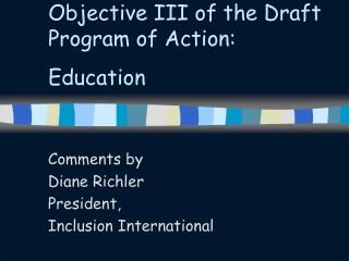 Objective III of the Draft Program of Action: Education