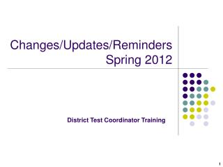 Changes/Updates/Reminders Spring 2012