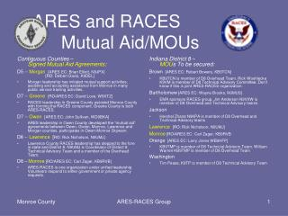 ARES and RACES          Mutual Aid/ MOU s