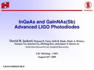 InGaAs and GaInNAs(Sb) Advanced LIGO Photodiodes