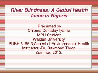 River Blindness: A Global Health Issue in Nigeria