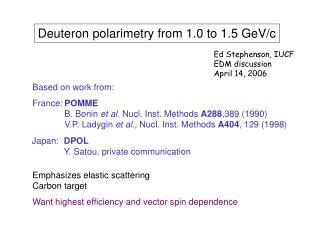 Deuteron polarimetry from 1.0 to 1.5 GeV/c