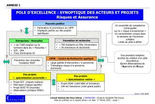 POLE D'EXCELLENCE : SYNOPTIQUE DES ACTEURS ET PROJETS  Risques et Assurance