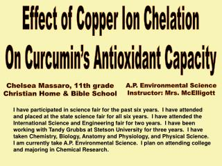 Effect of Copper Ion Chelation On Curcumin's Antioxidant Capacity