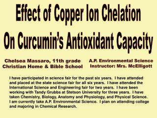 Effect of Copper Ion Chelation On Curcumin's Antioxidant Capacity