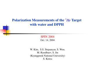 SPIN 2004 Oct. 14, 2004 W. Kim,  S.S. Stepanyan, S. Woo,  M. Rasulbaev, S. Jin