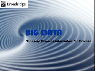 BIG DATA Managing Business Information for Success