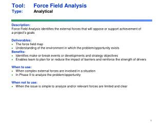 Tool: Force Field Analysis  Type:  Analytical