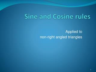Sine and Cosine rules