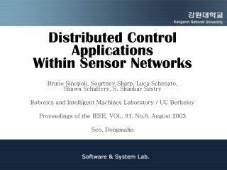 Distributed Control Applications  Within Sensor Networks