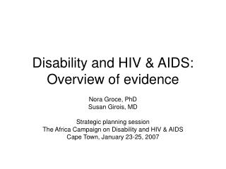 Disability and HIV & AIDS: Overview of evidence