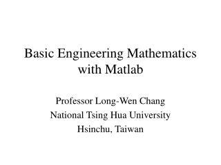 Basic Engineering Mathematics with Matlab