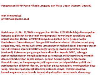 web Pengawasan DPRD Pasca Pilkada Priyatmoko Drs MA