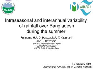 Intraseasonal and interannual variability  of rainfall over Bangladesh  during the summer
