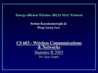 Energy-efficient Wireless  802.11 MAC Protocol