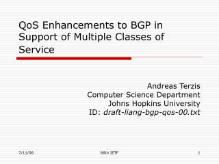 QoS Enhancements to BGP in Support of Multiple Classes of Service