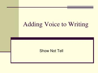 Adding Voice to Writing