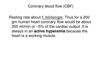 Coronary blood flow (CBF)