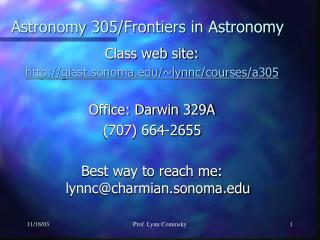 Astronomy 305/Frontiers in Astronomy