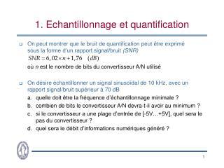 1. Echantillonnage et quantification