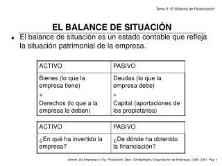 EL BALANCE DE SITUACIÓN