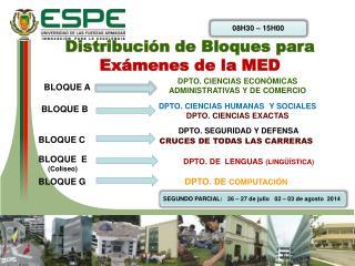 Distribución de Bloques para  Exámenes de la MED