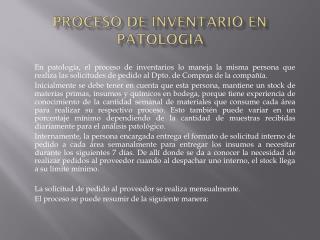 PROCESO DE INVENTARIO EN PATOLOGIA