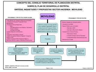 CONCEPTO DEL CONSEJO TERRITORIAL DE PLANEACION DISTRITAL  SOBRE EL PLAN DE DESARROLLO DISTRITAL