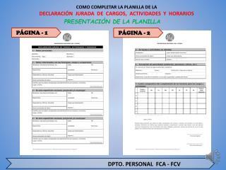 COMO COMPLETAR LA PLANILLA DE LA  DECLARACIÓN  JURADA  DE  CARGOS,  ACTIVIDADES  Y  HORARIOS