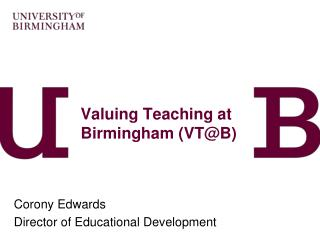 Valuing Teaching at Birmingham (VT@B)