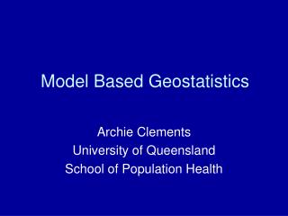 Model Based Geostatistics