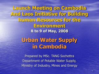 Urban Water Supply  in Cambodia