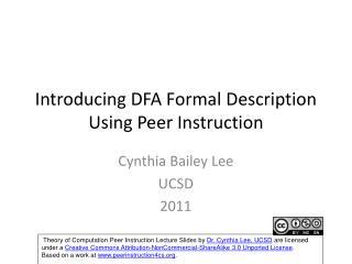 Introducing DFA Formal Description Using Peer Instruction